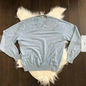 [Peter Millar] V Neck Blue 100% Cashmere Sweater